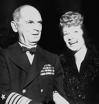 William D. Leahy - With Lucille Ball during a tour of Washington D.C. hotels presenting fundraisers for the President's Birthday Ball to fight infantile paralysis (1944)