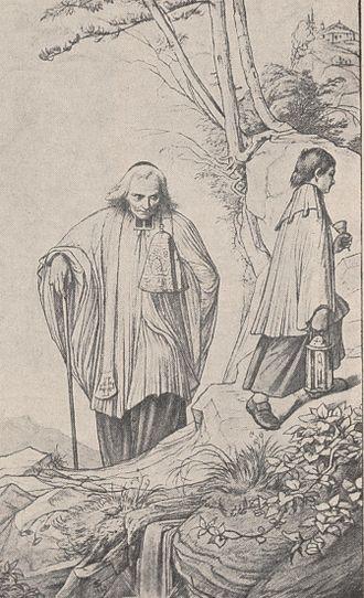 "Nicolaus von Weis - Eduard von Steinle, ""Priest carries the Holy Sacrament over the mountains"", with the face of Nikolaus von Weis"