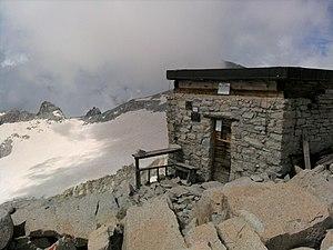 """Bivacco Cima Presanella """"Brigata Orobica"""" with the Nardis glacier in the background"""