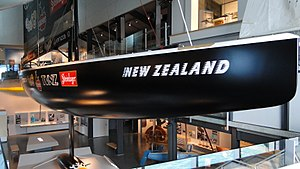 Photograph of Black Magic (NZL 32) in a museum display.