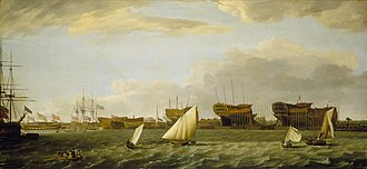 Blackwall Yard - Blackwall Yard from the Thames, by Francis Holman, 1784, in the National Maritime Museum, Greenwich