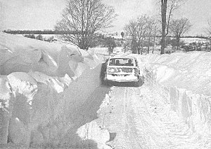 Blizzard of '77 - Snow drifts made travel difficult in parts of New York (February 7, 1977), shown is the city of Buffalo