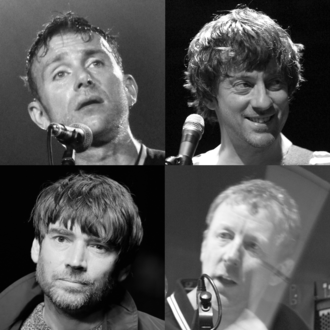 Blur (band) - Top: Albarn, Coxon Bottom: James, Rowntree