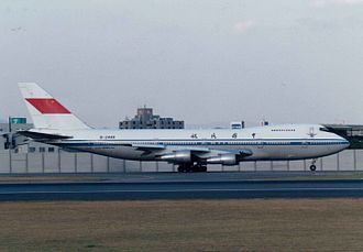 CAAC Airlines - A CAAC-coated Boeing 747-200B operated by Air China at Osaka International Airport, Japan, ca. 1990