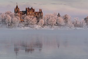 Alexandria Bay, New York - Boldt Castle in winter