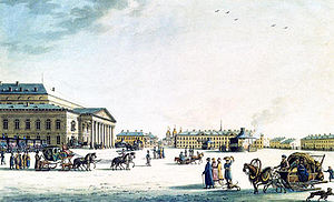 Bolshoi Theatre, Saint Petersburg - Theatre Square in 1806, by Benjamin Patersen.
