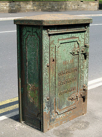 County Borough of Bolton - A Corporation Electricity Department box in Bury Road, Breightmet