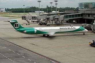 Bouraq Indonesia Airlines - A Bouraq McDonnell Douglas MD-82 at Singapore Changi Airport in 2002.