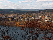 Downtown Brattleboro, as seen looking across the Connecticut River from New Hampshire.