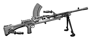 Squad automatic weapon - The Bren is an example of a British Army squad automatic weapon from World War II.