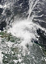 Tropical Storm Bret approaching the island of Trinidad late on June 19