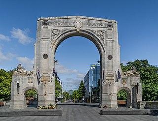 Bridge of Remembrance bridge and war memorial in Christchurch, New Zealand