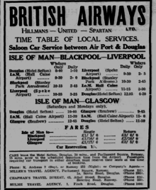 Photograph of British Airways' Hall Caine Schedule