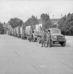 Chelsea Barracks - Lorries of a mobile recruiting team lined up at Chelsea Barracks during the Second World War