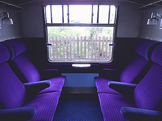 British Rail Class 421 - The interior of First Class cabin aboard a Class 421