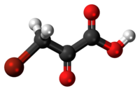 Ball-and-stick model of the bromopyruvic acid molecule