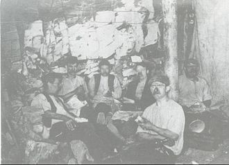 Brownhills - Brownhills miners depicted on a picture postcard from 1904
