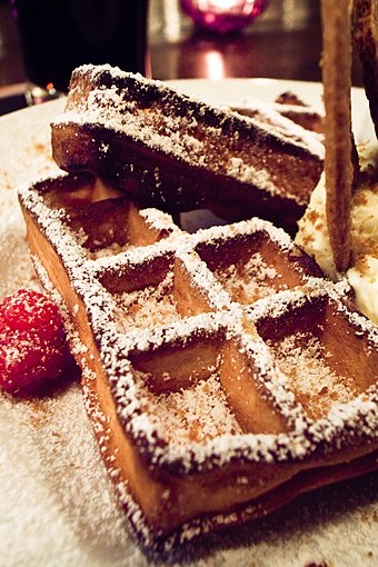 Brussels is known for its local waffles. Brussels waffle.jpg