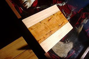 Rhamnus cathartica - A cutting board made from common buckthorn and Norway maple.