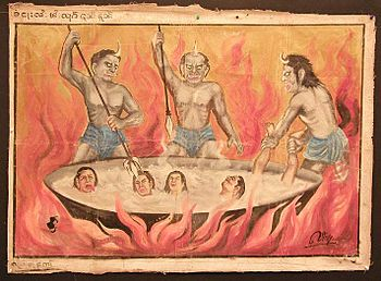 English: 19th century Burmese temple painting....
