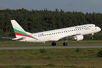 Bulgaria Air - Image: Bulgaria Air Embraer 190AR LZ SOF FRA 2014 08 21