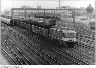 Cottbus Hauptbahnhof - Cottbus station, departing freight train (1989)
