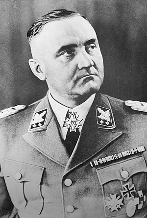 Obergruppenführer - Gottlob Berger, chief of the SS Main Office, wearing the post-April-1942 version of the SS-Obergruppenführer rank insignia