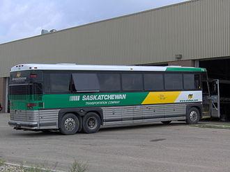 Saskatchewan Transportation Company - MCI Bus Being Serviced in Saskatoon