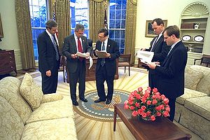 Matthew Scully - President George W. Bush prepares his State of the Union speech with Dan Bartlett, White House Communications Director, at left, Mike Gerson, director of Presidential Speechwriting, and speech writers Matthew Scully and John McConnell in the Oval Office Thursday, January 23, 2003.