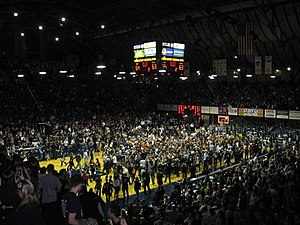 Butler Bulldogs - Butler students flood the court following the buzzer-beater victory over Gonzaga
