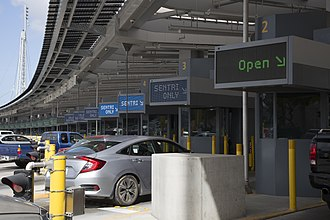 Mexico–United States border - San Ysidro Port of Entry through vehicle.