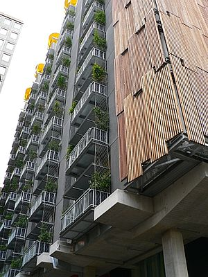 City of Melbourne - Council House 2, Little Collins Street, completed 2006, is the world's first 6 star green rating building; it features a louvred façade, natural and recycled materials, solar panels and thermal mass cooling.