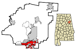 Location in Quận Calhoun, Alabama