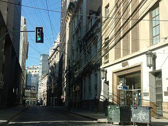 Segundo Ruiz Belvis - Calle Prat, Valparaíso, Chile. At this approximate location stood the Aubry Hotel, where Segundo Ruiz Belvis died in 1867.
