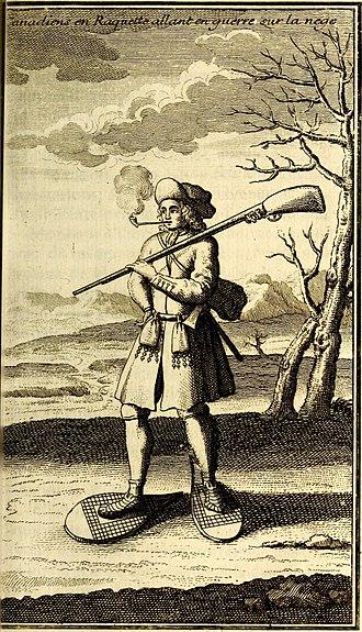 Schenectady massacre - French soldier or militiaman of Canada in winter war dress around 1690 - 1700.