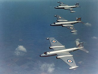 English Electric Canberra - A flight of three RAF Canberra B2s flying in formation during the 1950s