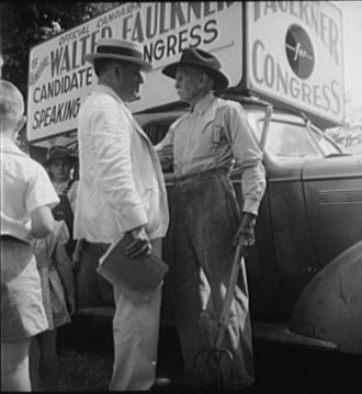 Political campaign - Walter Faulkner, candidate for U.S. Congress in 1938, campaigns in person with a farmer in Crossville, Tennessee (photo by Dorothea Lange)