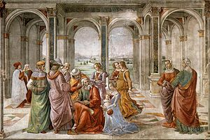 Zechariah (priest) - Domenico Ghirlandaio's fresco Zechariah Writes Down the Name of His Son (1490, fresco in the Tornabuoni Chapel, Florence)