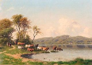Landskab med køer ved en sø