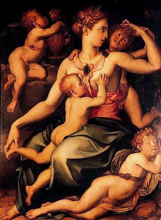 Carlo Portelli - Image: Carlo Portelli La Caridad Tabla. 151 x 115 cm. Museo del Prado