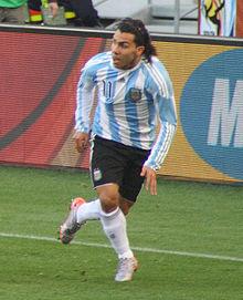 Tévez in azione con l'Albiceleste ai Mondiali del 2010