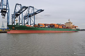 Port of Tilbury - Container ship Carpathia unloading at Northfleet Hope terminal