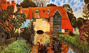 "Carrington (film) - A painting by Carrington of the ""Mill House"", Tidmarsh, Pangbourne, on the upper Thames."