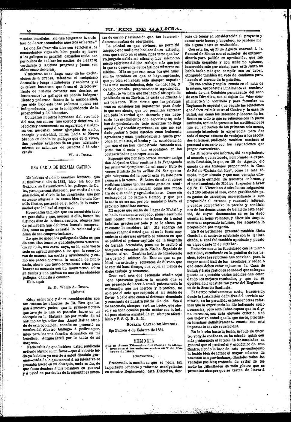A Waldo A. Insua, 1884, en El Eco de Galicia.