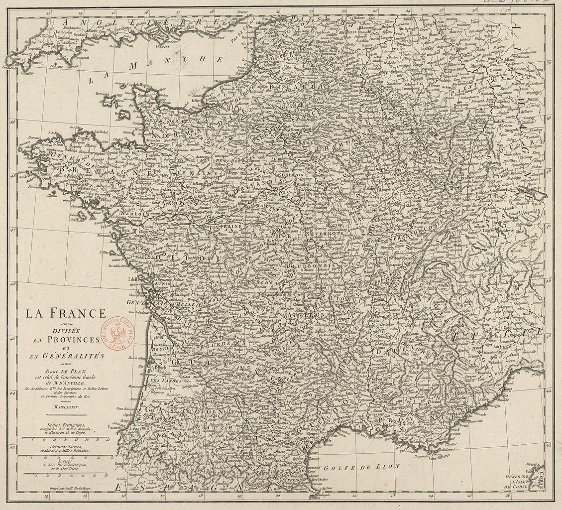 File:Carte de la France divisée en provinces et en généralités (Jean-Baptiste Bourguignon d ...
