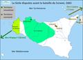 Carte de la Sicile disputée avant la bataille de Cerami, 1063.png