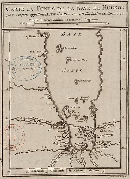 Carte française de la Baie James en 1744.