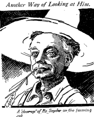 Meredith P. Snyder - Snyder on his ranch, 1919 Los Angeles Times
