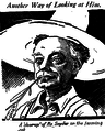 Cartoon of Meredith Pinxton Snyder, Los Angeles, California, mayor, on his ranch.png