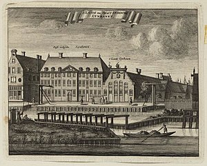 Admiraliteitslijnbaan, Amsterdam - Caspar Commelin's 1693 print showing the ropewalks of the Admiralty of Amsterdam and the Dutch East India Company